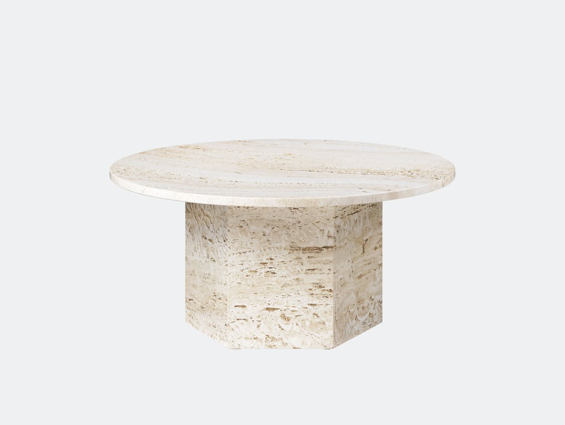 Gubi Epic Coffee Table dia 80cm white travertine Gam Fratesi