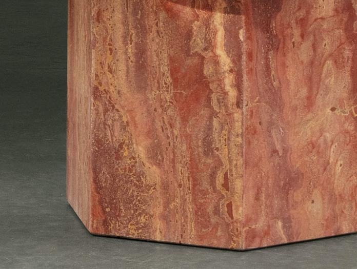 Gubi Epic Coffee Table red travertine detail Gam Fratesi