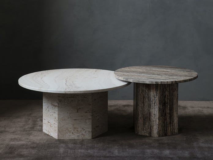 Gubi Epic Coffee Tables white grey travertine Gam Fratesi