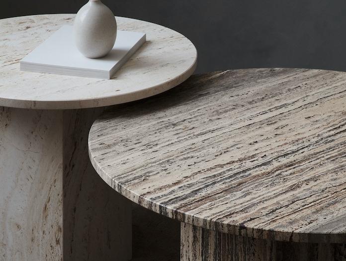 Gubi Epic Coffee Tables white grey travertine detail Gam Fratesi