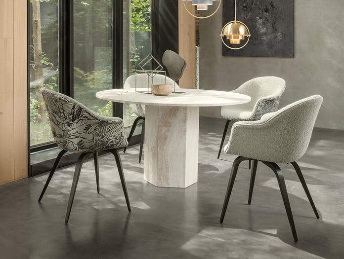 Gubi Epic Dining Table 1 white travertine Gam Fratesi