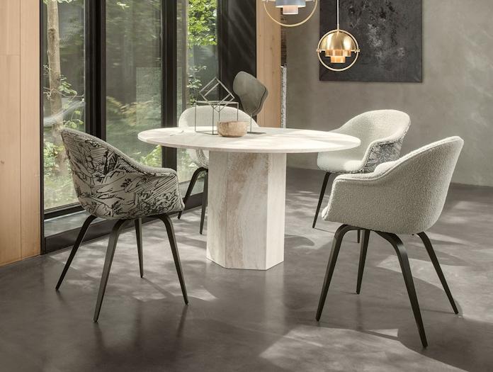 Gubi Epic Dining Table 1 white travertine Gam Fratesi