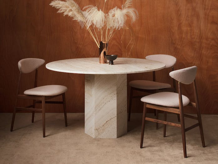 Gubi Epic Dining Table 2 white travertine Gam Fratesi
