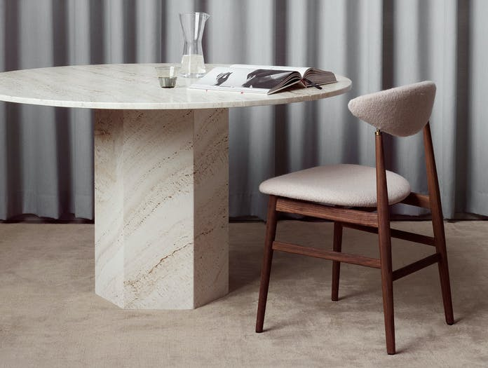 Gubi Epic Dining Table 3 white travertine Gam Fratesi