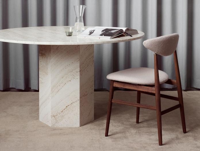 Gubi Epic Dining Table 3 white travertine Gam Fratesi