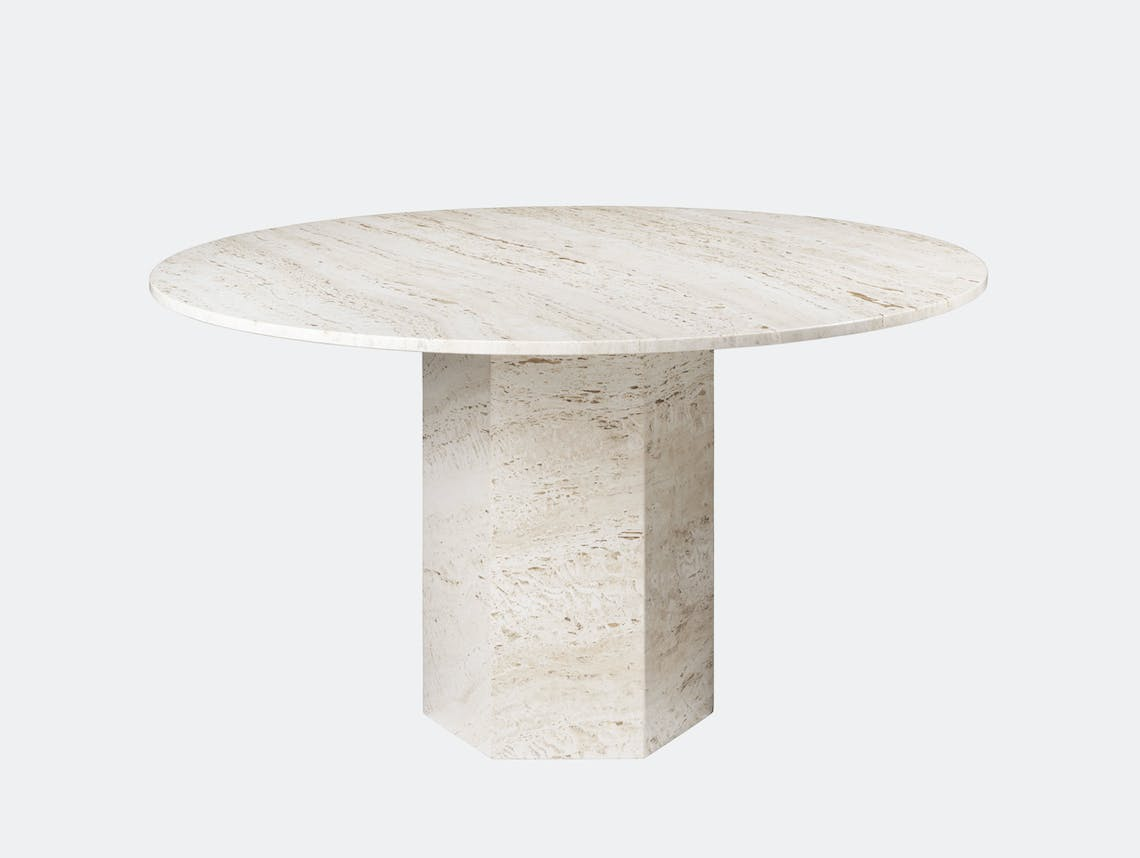 Gubi Epic Dining Table white travertine Gam Fratesi