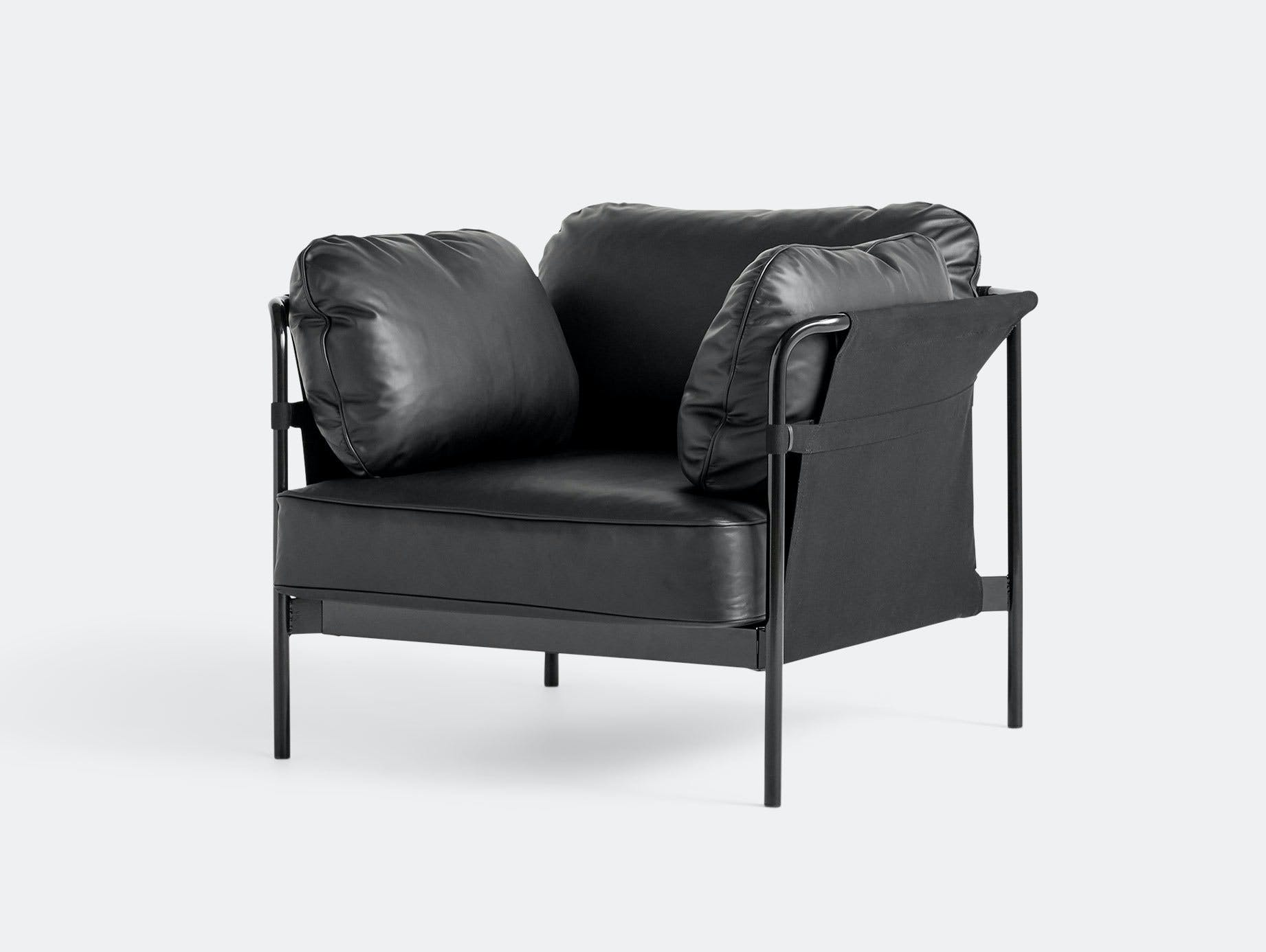 Hay Can Armchair Black Leather Ronan Erwan Bouroullec