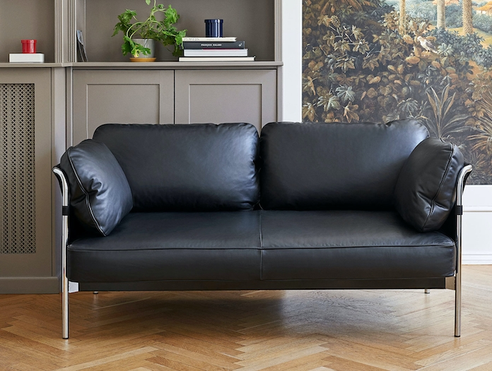 Hay Can Sofa 2 seater leather chrome Ronan Erwan Bouroullec
