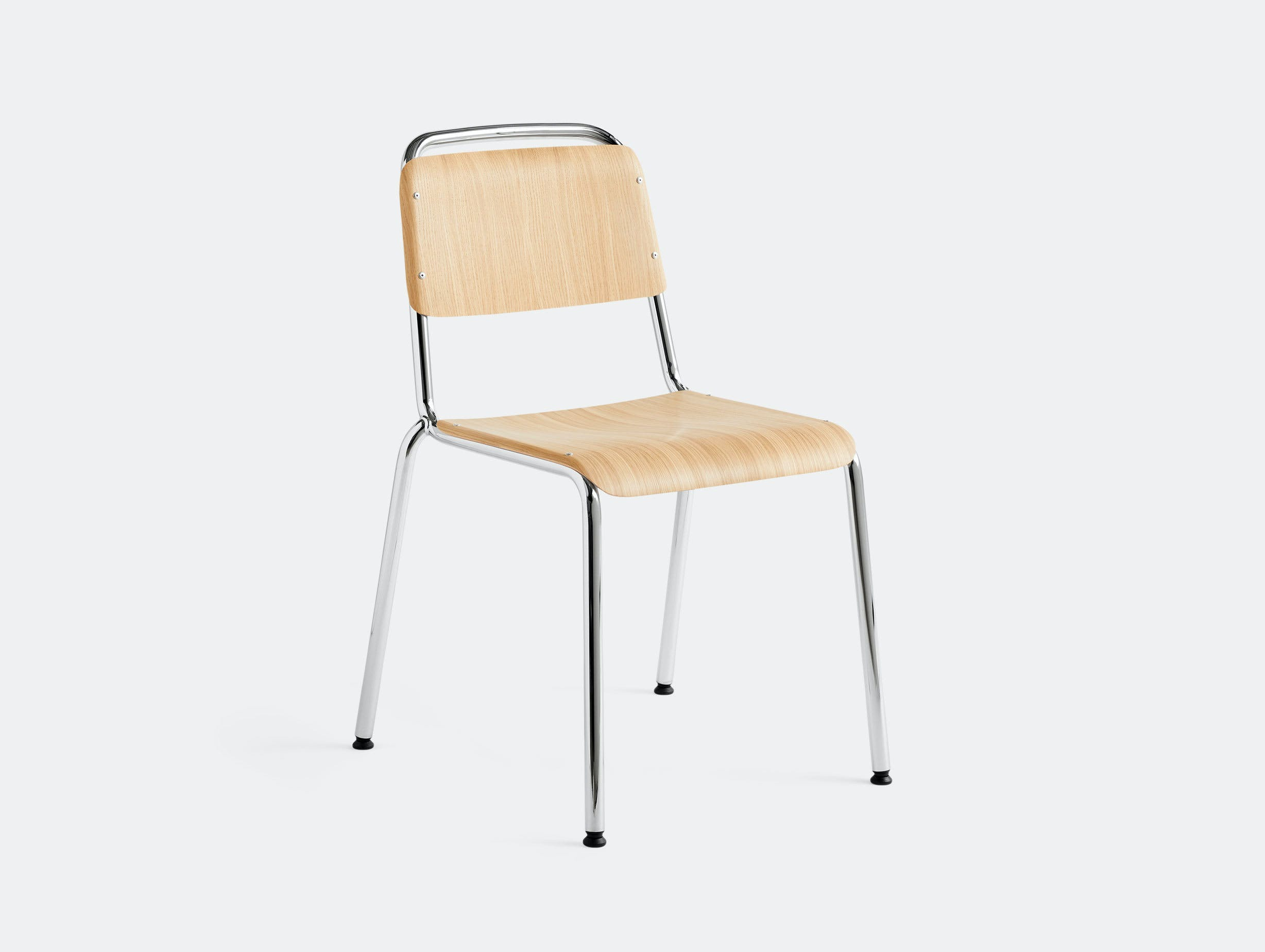 Hay Halftime Chair chromed frame natural oak seat COBE Studio