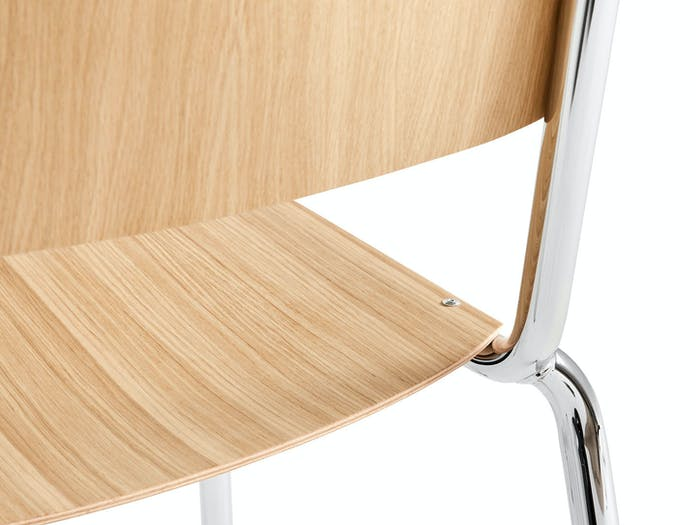 Hay Halftime Chair chromed frame natural oak seat detail 2 COBE Studio