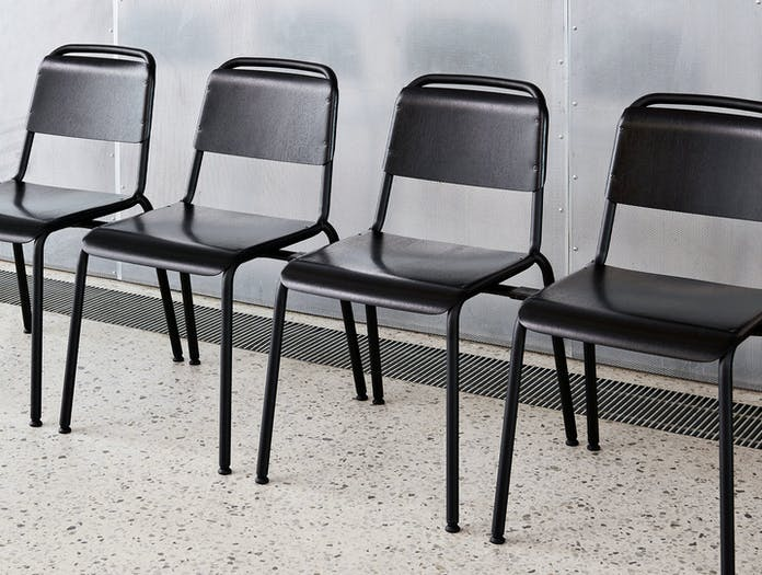 Hay Halftime Chairs black frame black oak seat COBE Studio