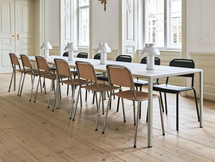 Hay Halftime matt lacquer oak chrome base New Order Table light grey Halftime black stained oak black powder coated base PC Table Lamp aluminum