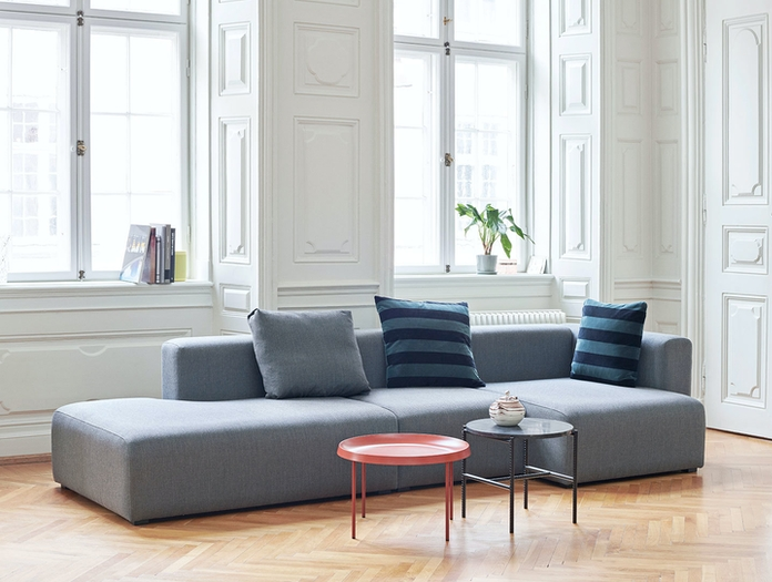 Hay Mags Sofa Fiord 171 Tulou Coffee Table Orange Rebar Side Table Soft Stripe Cushion Soft Blue