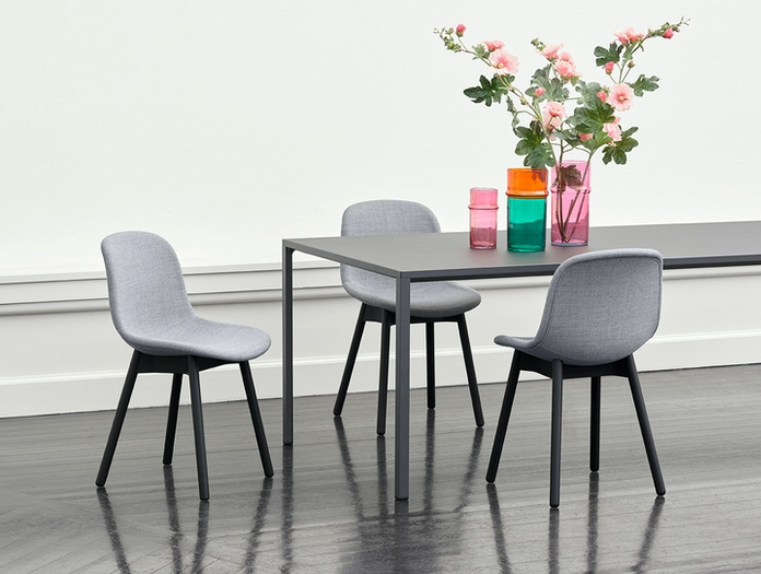 Hay Neu 13 Chair black base Uph Remix 143 New Order Table black lino top Morroccan Vase