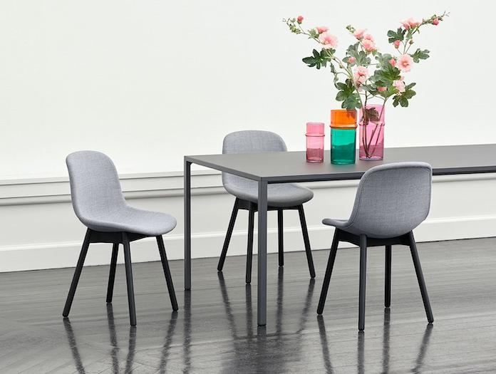 Hay Neu 13 Chair black base Uph Remix 143 New Order Table black lino top Morroccan Vase