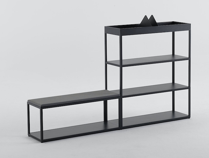 Hay New Order Shelving System with Table Top Charcoal