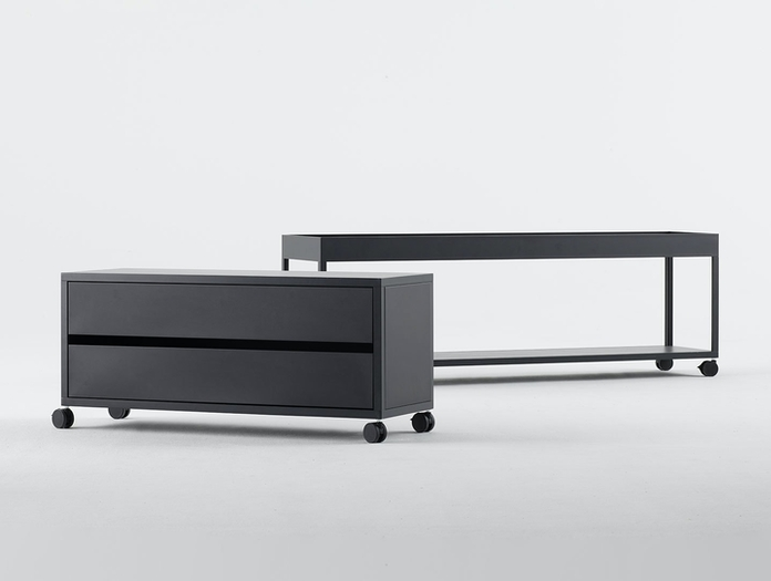Hay New Order Shelving System with Table Top Charcoal New Order Steel Drawers Charcoal