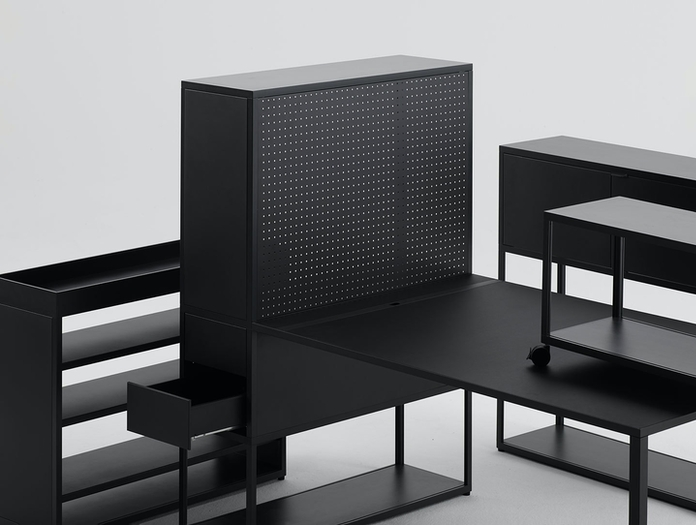 Hay New Order Shelving system with perforated Steel Panels Charcoal New Order wheel black