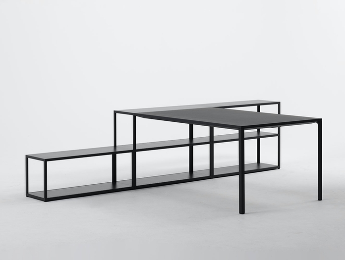 Hay New Order Table with Shelving System Charcoal 2