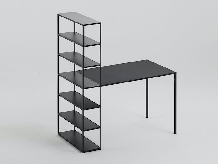 Hay New Order Table with Shelving System Charcoal