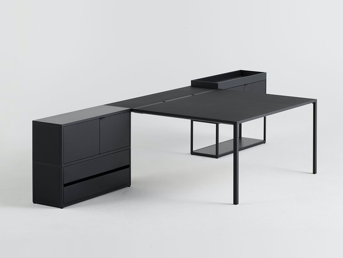 Hay New Order Table Charcoal New Order Shelving System with Tabletop Charcoal New order Steel Sliding Doors Charcoal