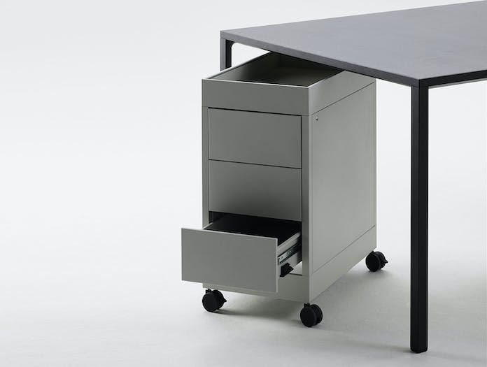 Hay New Order Table Charcoal New Order Trolley B 3 Drawer with top tray Light Grey