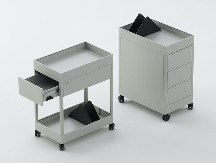 Hay New Order Trolley A 1 Drawer w Tray Top light grey New Order Trolley B 3 drawer w Tray Top ligth grey 01