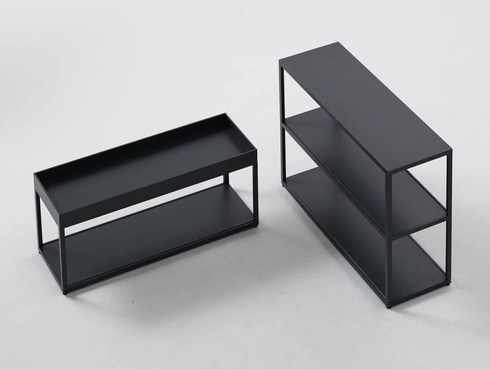 Hay New Order shelving system with tray top charcoal