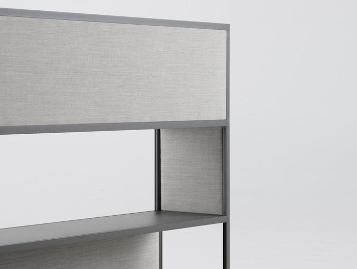 Hay New Order shelving system light grey textile panels Remix