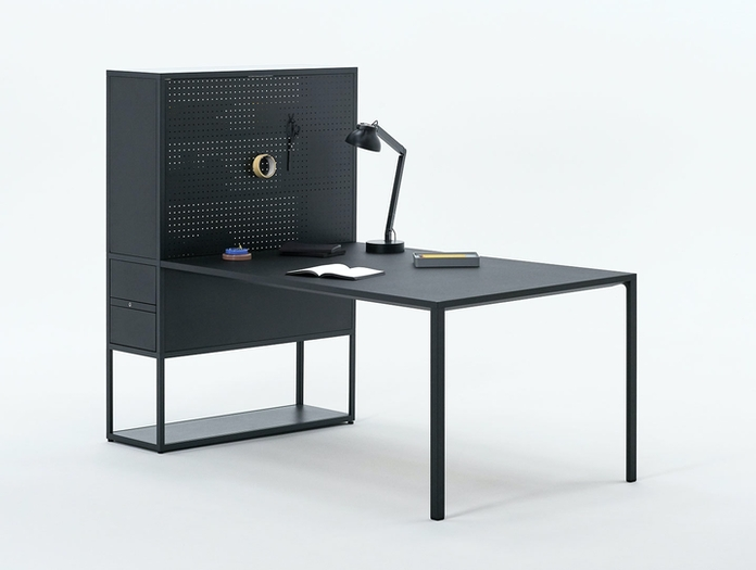 Hay New Order workstation charcoal PC lamp w double arm soft black