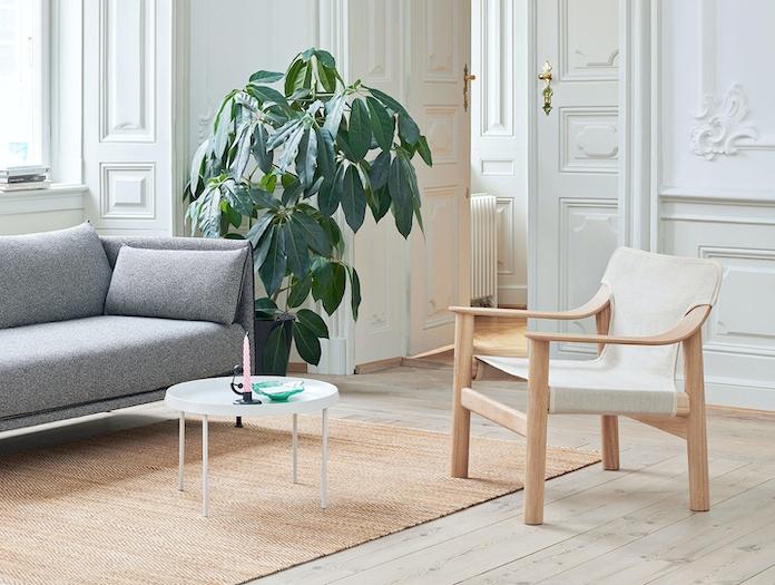 Hay Silhouette 2 seater Olavi Bernard matt lacquered oak raw canvas Tulou Coffee Table off white