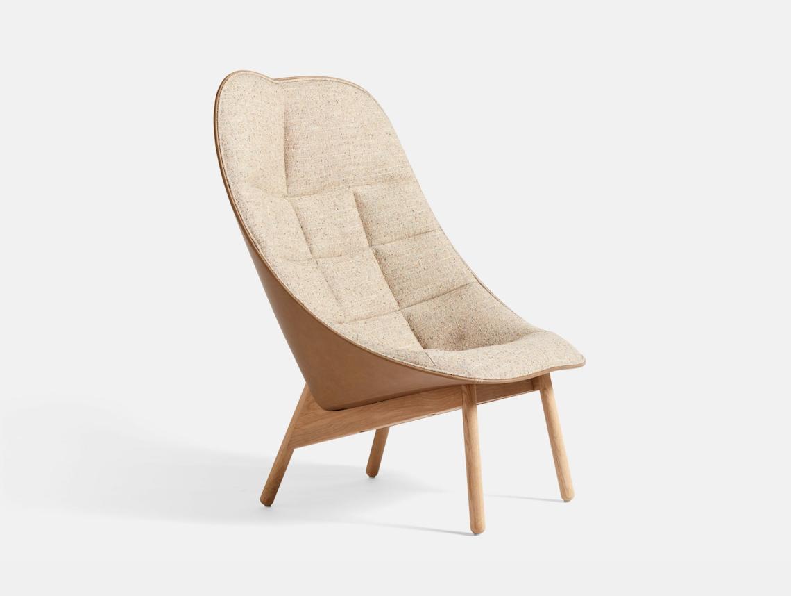 Hay Uchiwa Quilt Lounge Chair Bolgheri LGG60 Silk 0258 oak base Doshi Levien