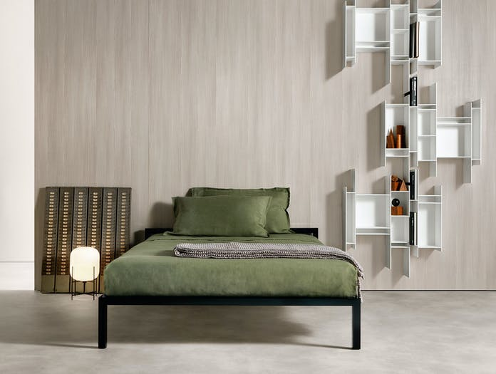 MDF Italia Aluminium Bed Lacquered Black set Bruno Fattorini