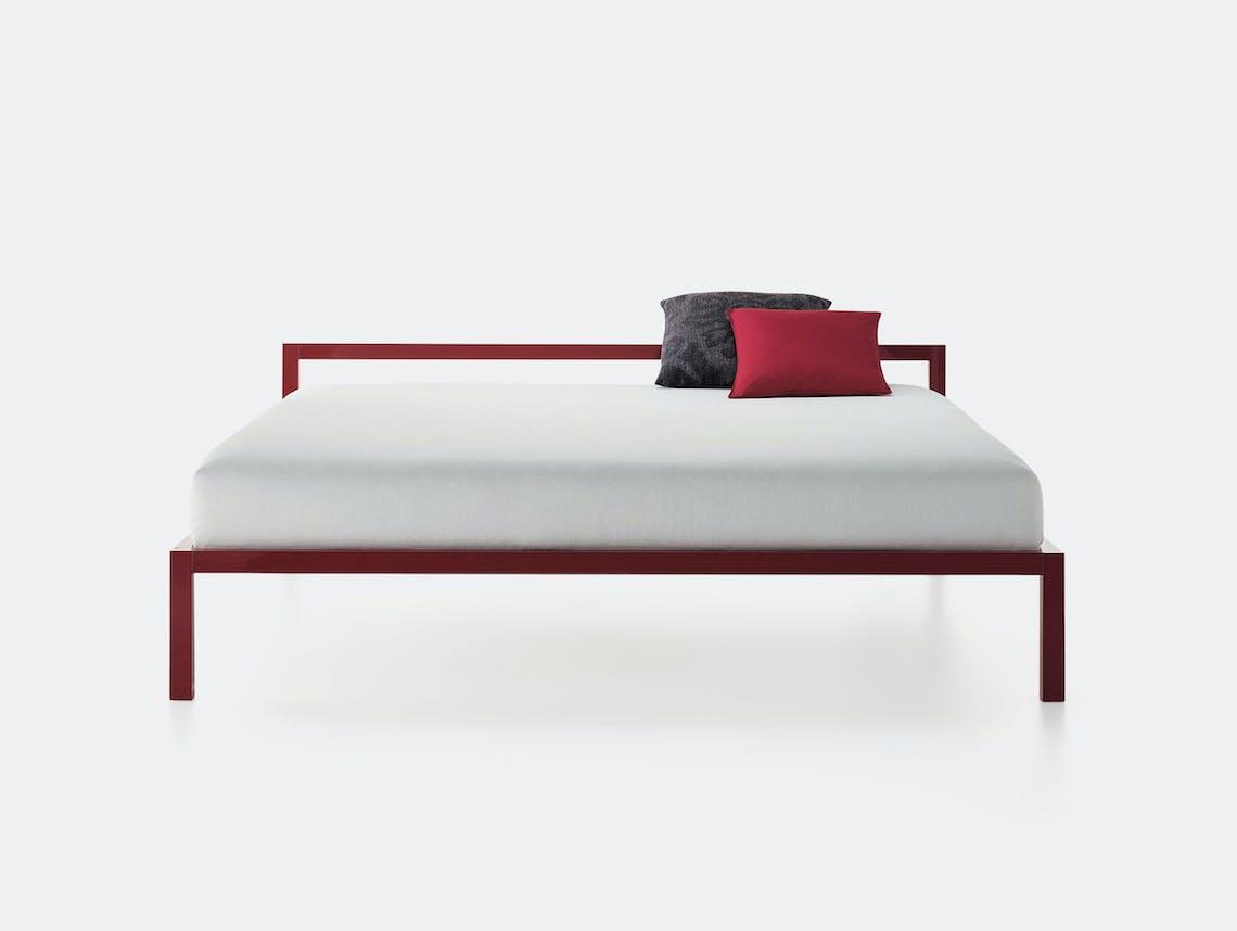 MDF Italia Aluminium Bed Lacquered Red Bruno Fattorini