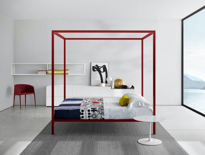 MDF Italia Aluminium Bed Lacquered Red Canopy Bruno Fattorini
