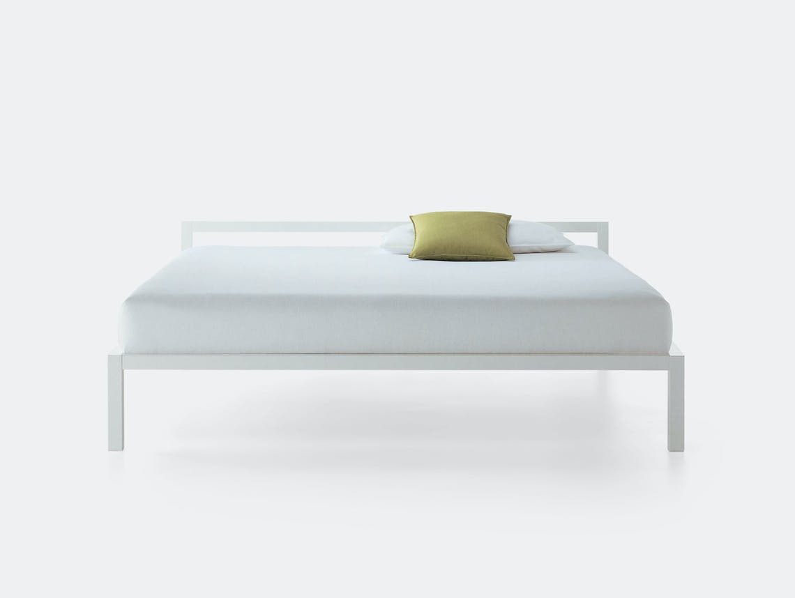 MDF Italia Aluminium Bed Lacquered White Bruno Fattorini
