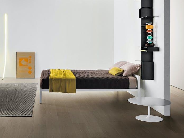 MDF Italia Aluminium Bed Lacquered White set Bruno Fattorini