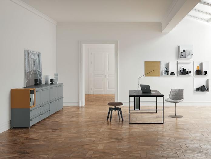 MDF Italia Handle Sideboard grey orange Bruno Fattorini