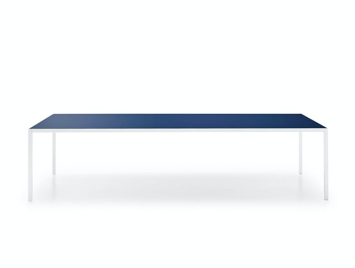 MDF Italia LIM 3 0 Table blue lacq glass top white frame Bruno Fattorini
