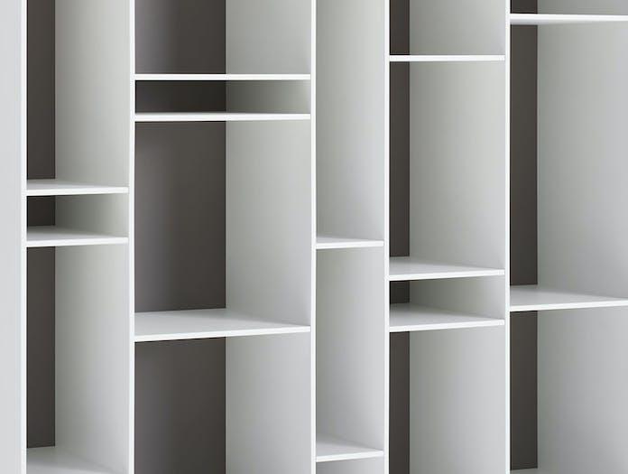 MDF Italia Random Shelves white med grey back detail Neuland Industriedesign