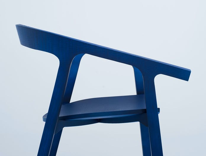 Mattiazzi He Said Chair neon blue ash detail Nitzan Cohen