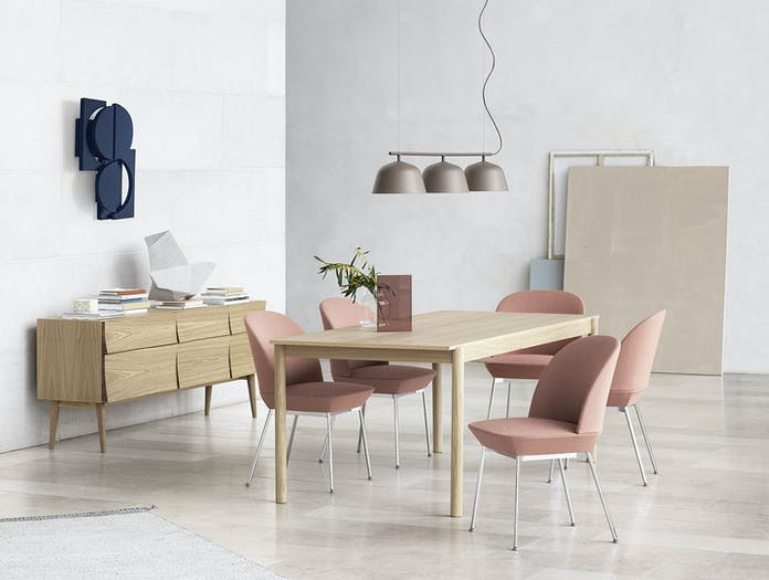Muuto Oslo side chair twill weave 530 chrome linear wood table oak reflect sideboard ambit rail lamp taupe
