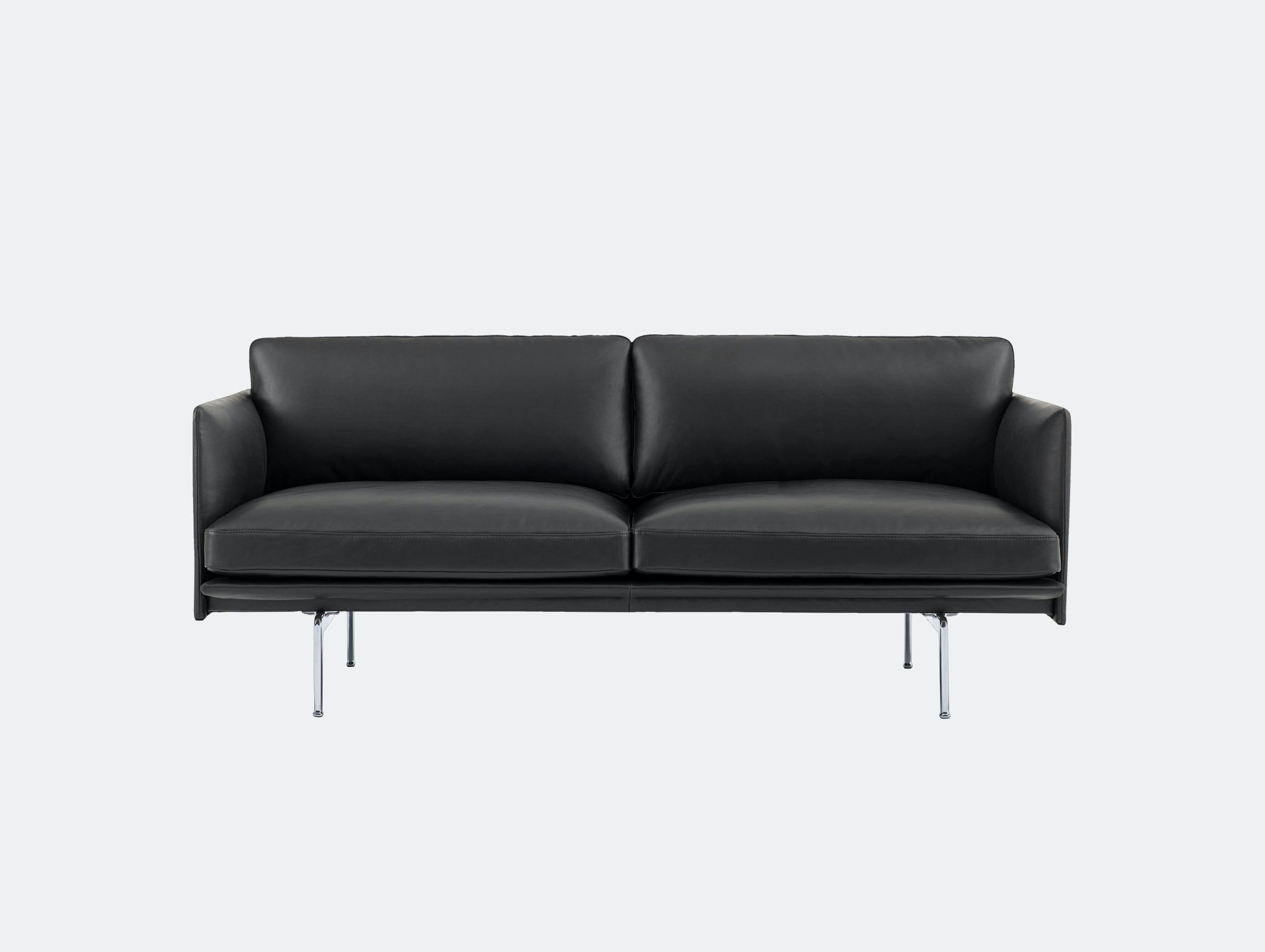 Muuto Outline 2 seater alu base black leather Anderssen Voll