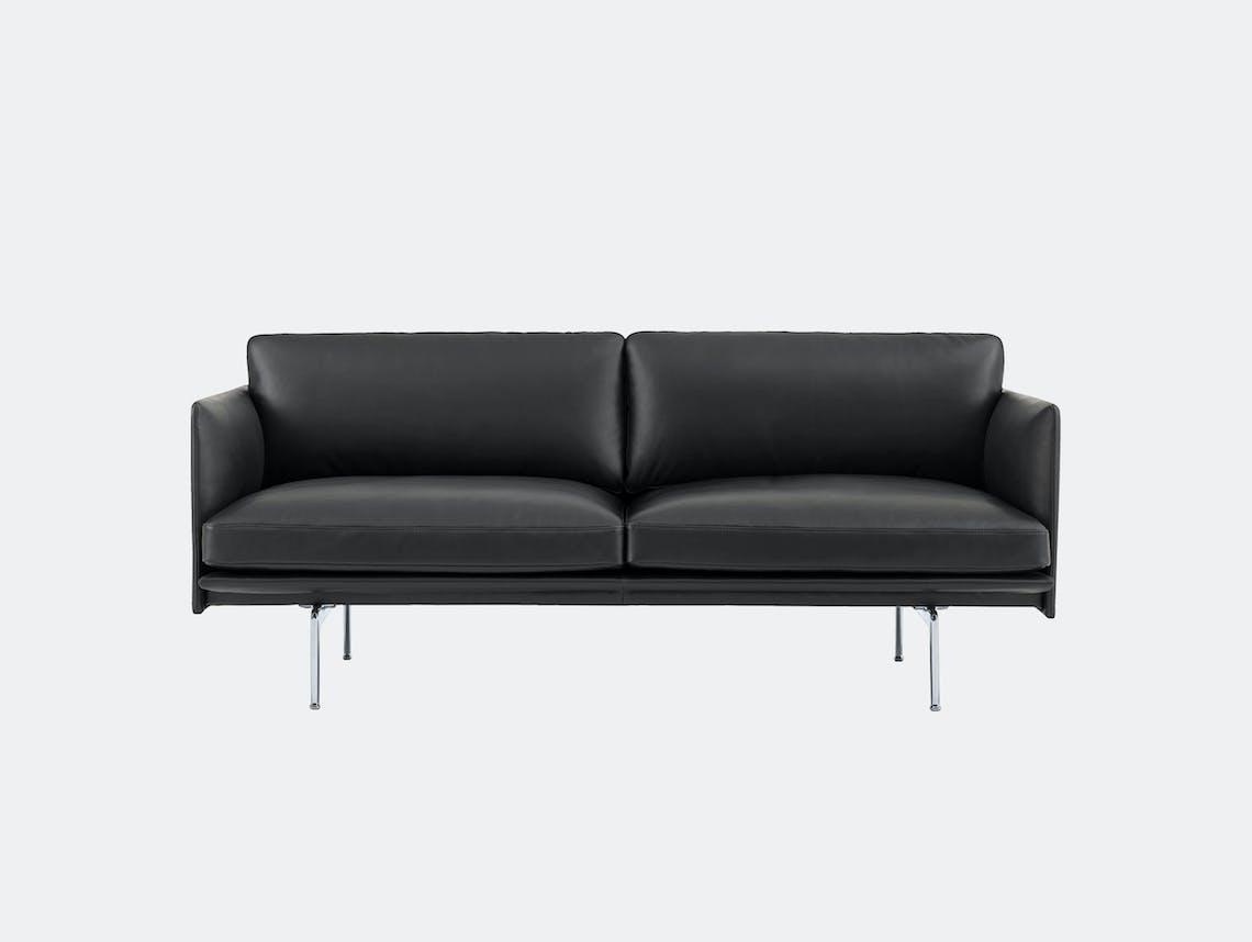 Muuto Outline 2 seater alu base black leather Anderssen Voll