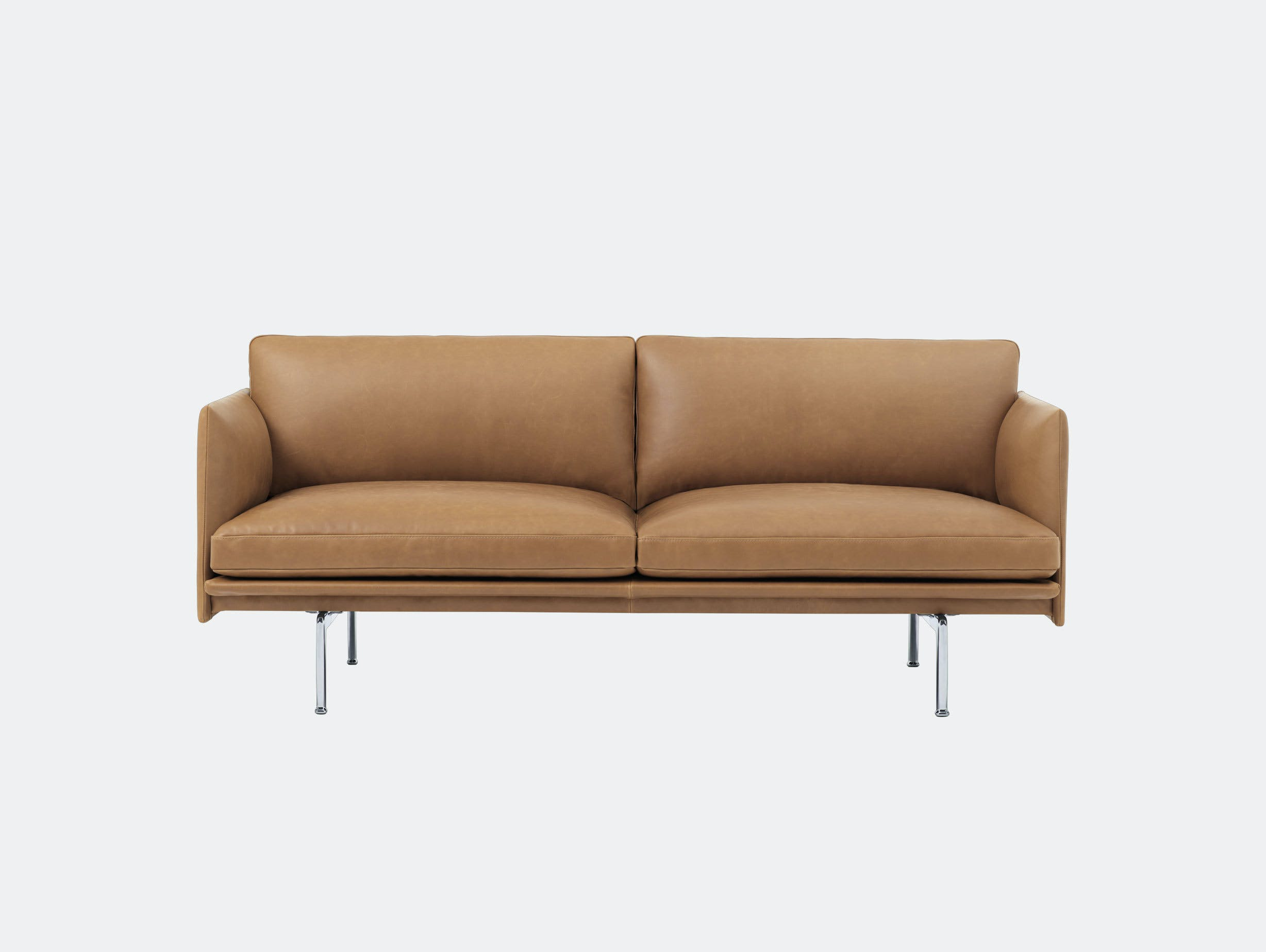Muuto Outline 2 seater alu base cognac leather Anderssen Voll