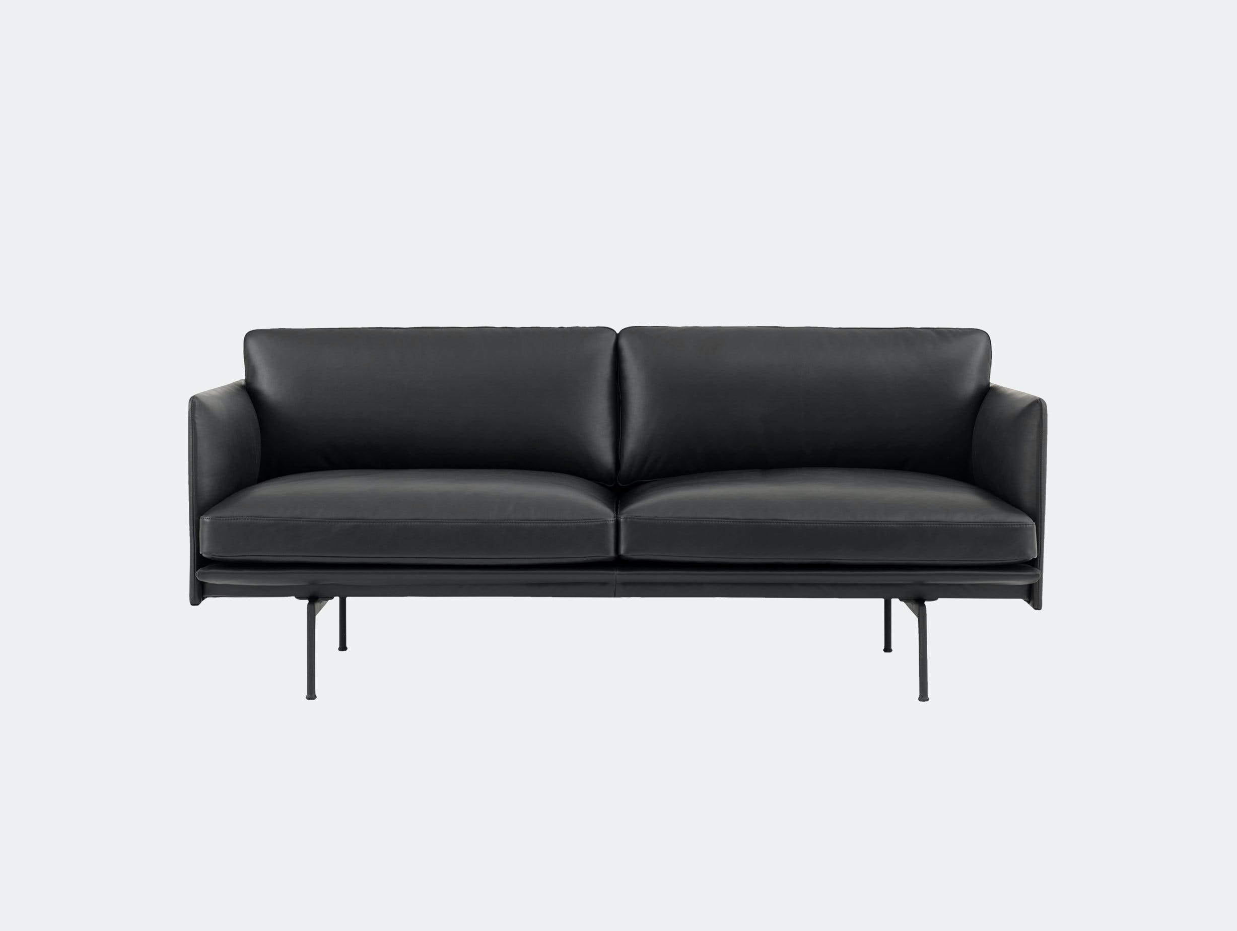 Muuto Outline 2 seater black base black leather Anderssen Voll