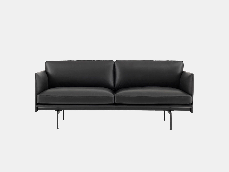 Muuto Outline 2 seater black base black leather Anderssen Voll