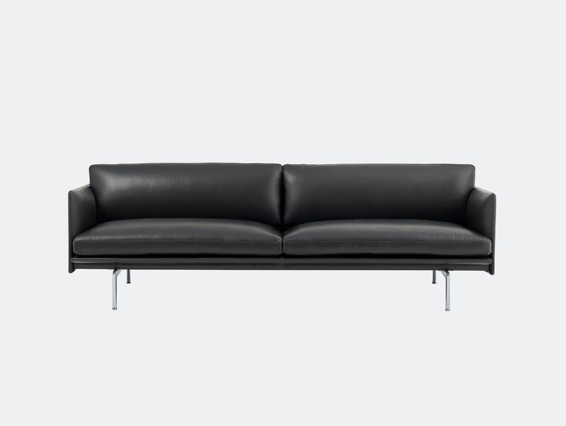 Muuto Outline 3 seater alu base black leather Anderssen Voll