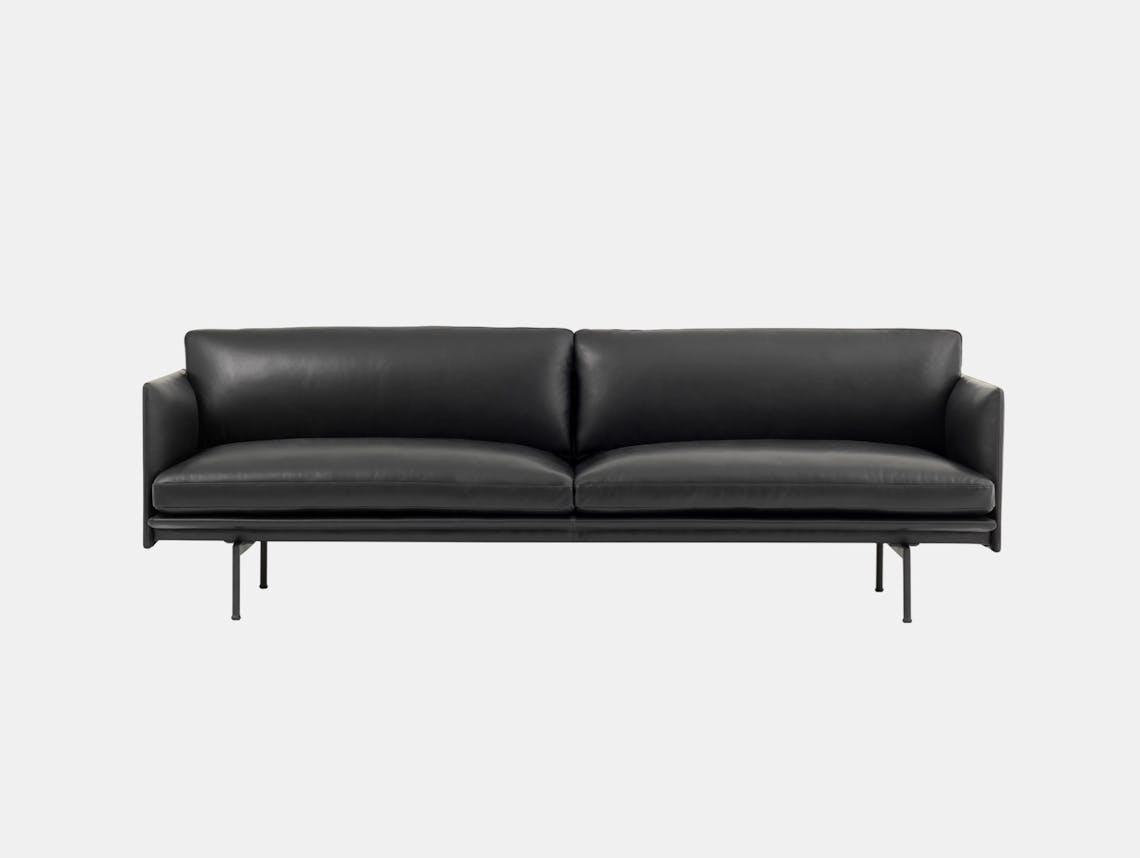 Muuto Outline 3 seater black base black leather Anderssen Voll