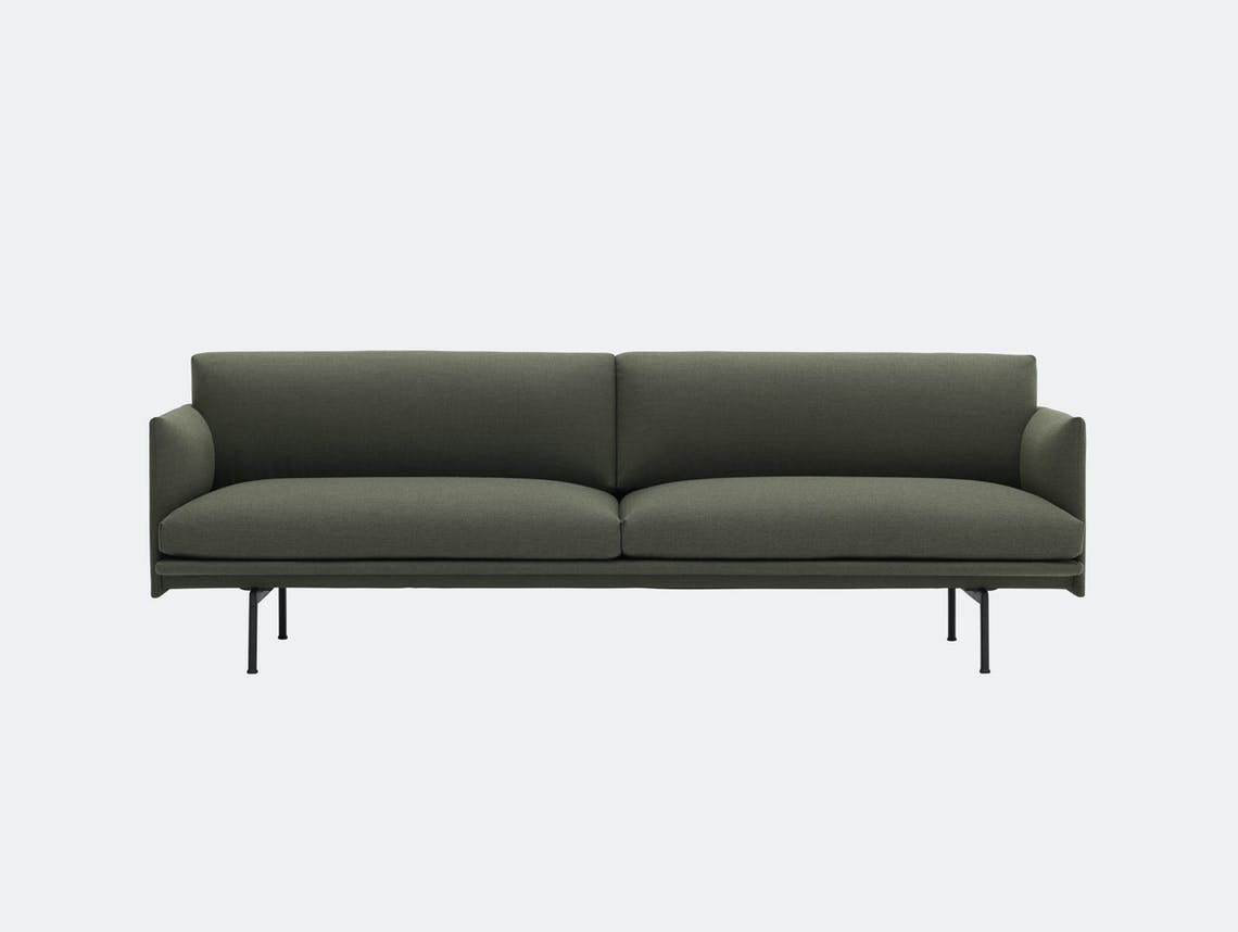 Muuto Outline 3 seater black base fiord 961 Anderssen Voll